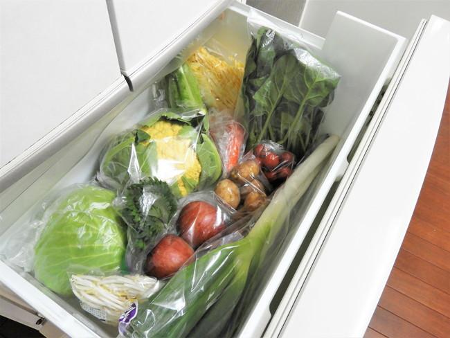 野菜の入った冷蔵庫の野菜室