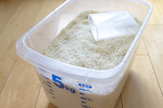 透明なプラスチックの米びつと計量カップ