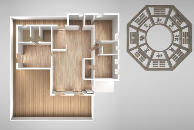 風水と部屋の模型