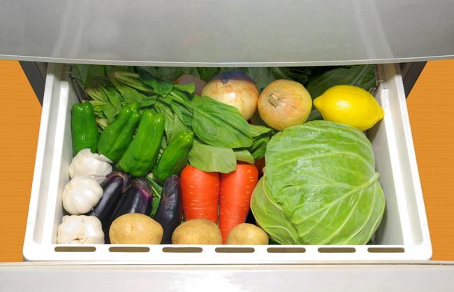 野菜がたくさん入っている冷蔵庫の野菜室