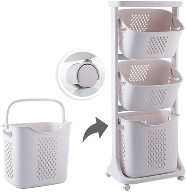3段ラックの洗濯カゴ
