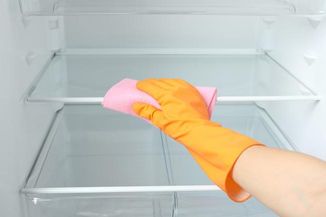 冷蔵庫を掃除する様子