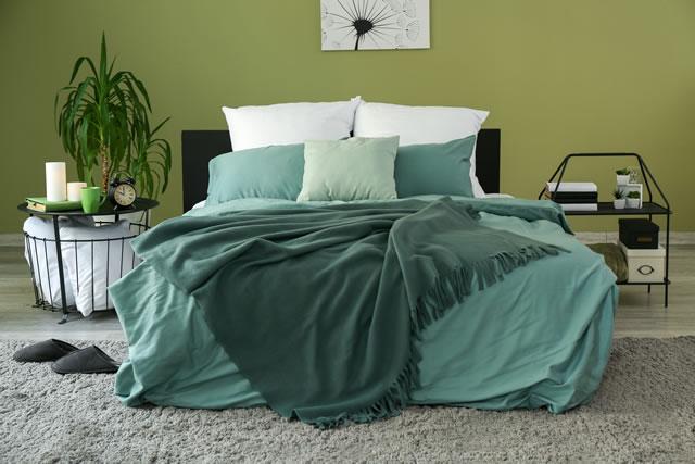 緑色の布団カバー