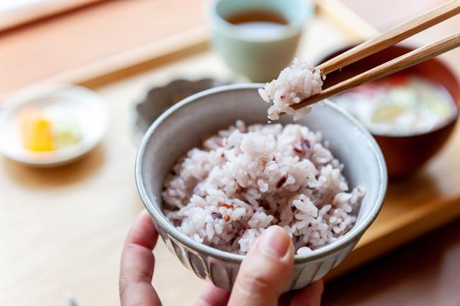 雑穀米の朝ごはん