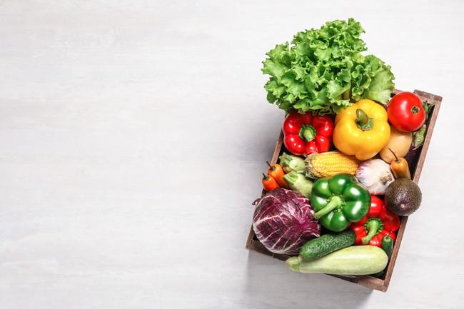 トレーに詰まった生野菜