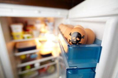 冷蔵庫の中の卵と食品