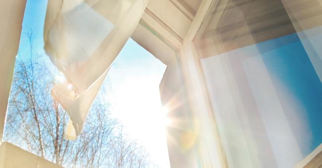 窓から入る光と風