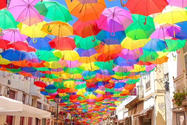 道路を埋め尽くす傘