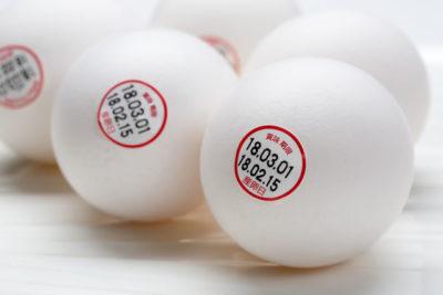 鶏卵の賞味期限ラベル
