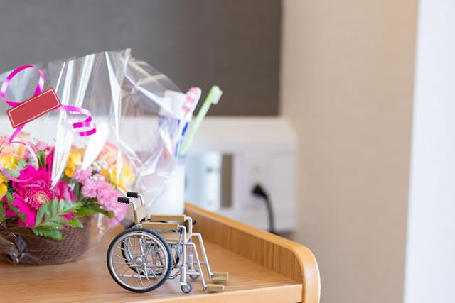生花と車椅子