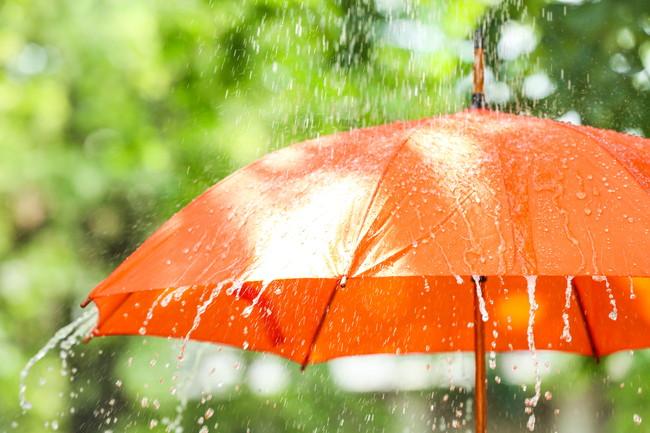 雨とオレンジ色の傘