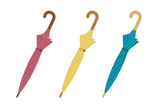 3本の閉じた傘