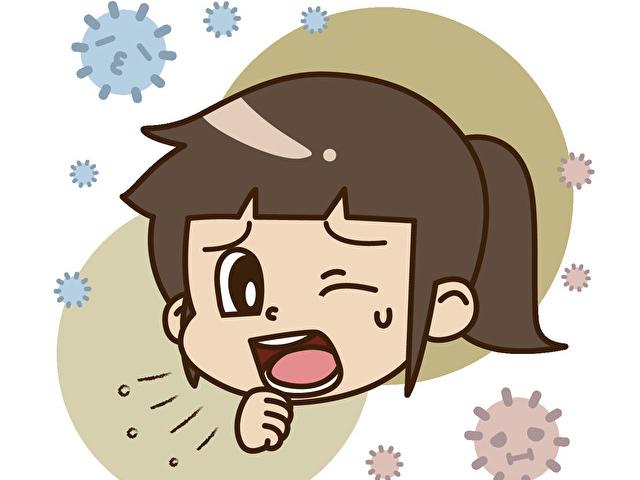 咳をする女の子とハウスダスト