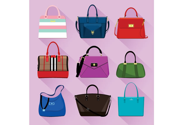 Various trendy women bags with colorful prints. Flat style vector illustration