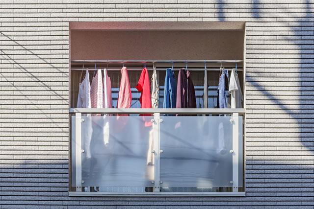 ベランダに干してある洗濯物