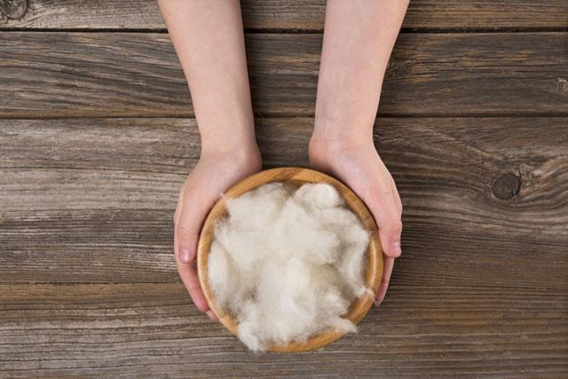 木皿の綿を持つ人