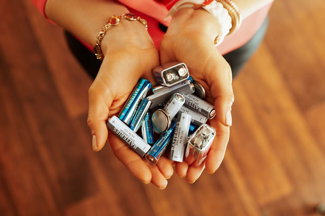 Closeup on different types of batteries in hand of housewife