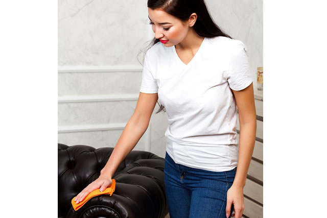 ソファーを磨く女性