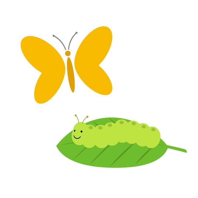 葉に付いた付加する幼虫と蝶々