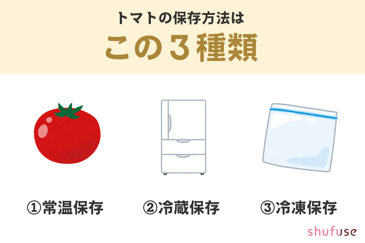 トマトの保存方法は三種類