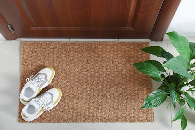 麻の玄関マットと観葉植物のある玄関