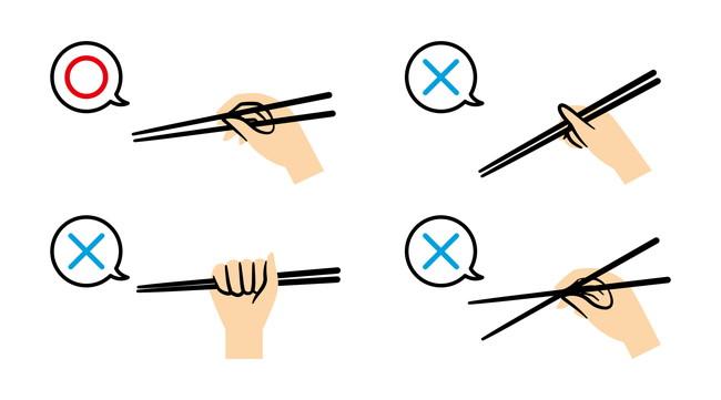 正しい箸の持ち方と誤った箸の持ち方のイラスト