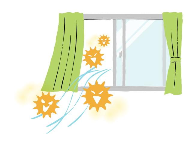 ウィルスが窓から外へ出ていくイラスト
