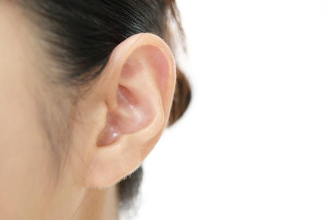 髪を結わいて耳が出ている女性の耳