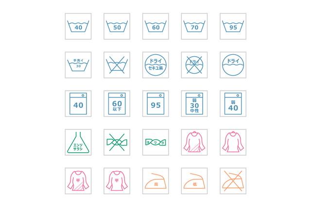 カラフルな洗濯表示のアイコン