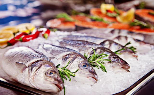 たくさんの冷凍された魚