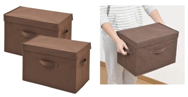 山善(YAMAZEN) どこでも収納ボックス ふた付 2個セット ブラウン YTCF-2PF(BR)