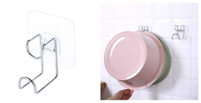 HJ 粘着式 洗面器収納 洗面器フック 洗面器スタンド 強力 壁傷つけない お風呂 洗い桶掛け ステンレス (1個セット)